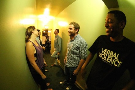Green Room Hallway Life — with Erica Mills, Al Bahmani, Jeremiah Watkins, Ahamed Weinberg, Chance Royce, Brian Moses at The World Famous Comedy Store. Photo by Troy Conrad http://www.rationalentertainment.com